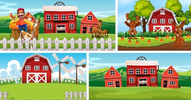 Set van verschillende boerderij scènes met dierenboerderij cartoon stijl Gratis Vector