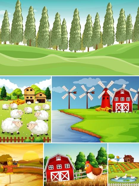 Set van verschillende boerderijtaferelen met cartoonstijl voor dierenboerderijen Gratis Vector