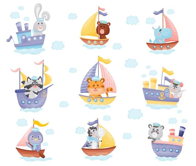 Set van verschillende boten met cartooneske dieren van kapiteins Premium Vector