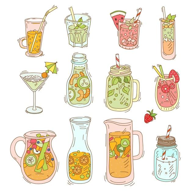 Set van verschillende cocktail en smoothie Premium Vector