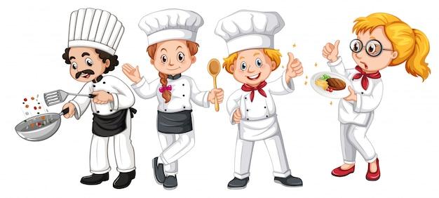 Set van verschillende cook karakter Premium Vector
