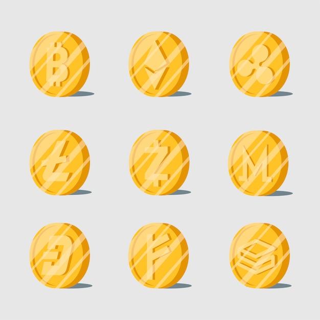 Set van verschillende cryptocurrencies elektronische contant geldsymbool Gratis Vector