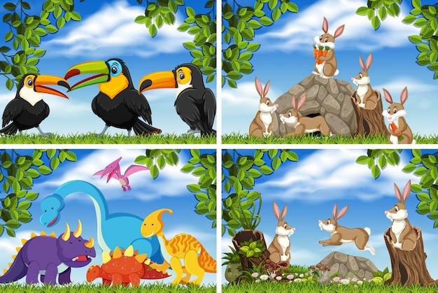 Set van verschillende dieren in natuurtaferelen Premium Vector