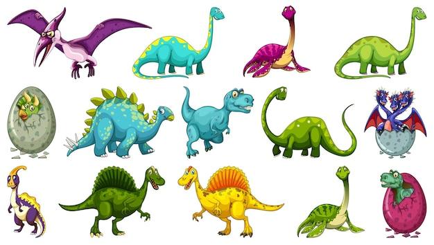 Set van verschillende dinosaurus stripfiguur geïsoleerd op een witte achtergrond Gratis Vector