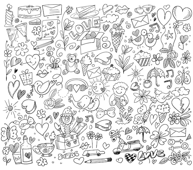 Set van verschillende doodle harten schetsontwerp Gratis Vector