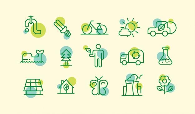 Set van verschillende ecologie pictogrammen in omtrek tekenstijl. Premium Vector
