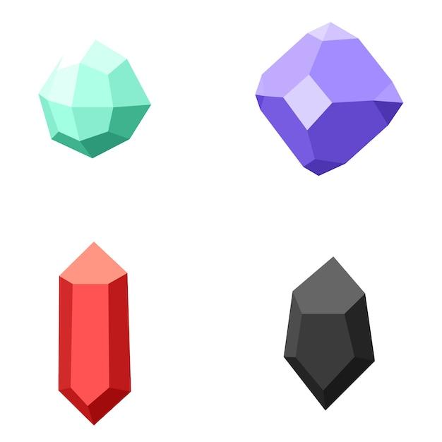 Set van verschillende edelstenen, diamanten op wit Premium Vector