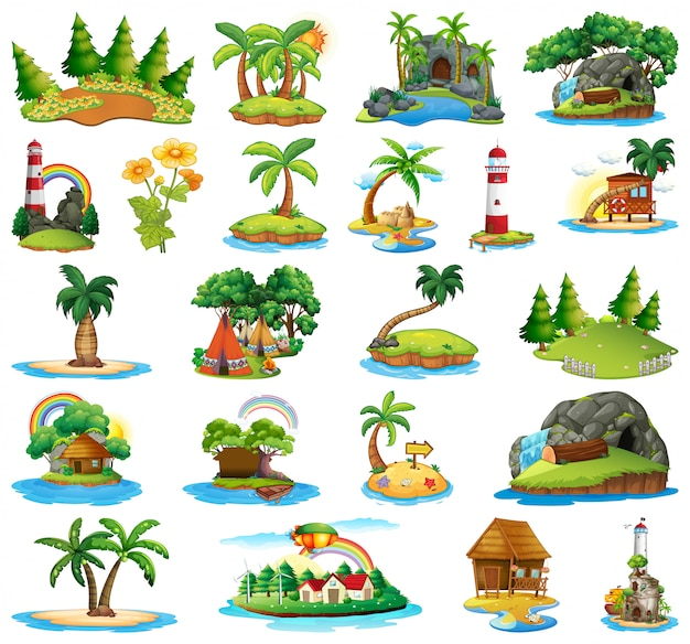 Set van verschillende eilanden Gratis Vector