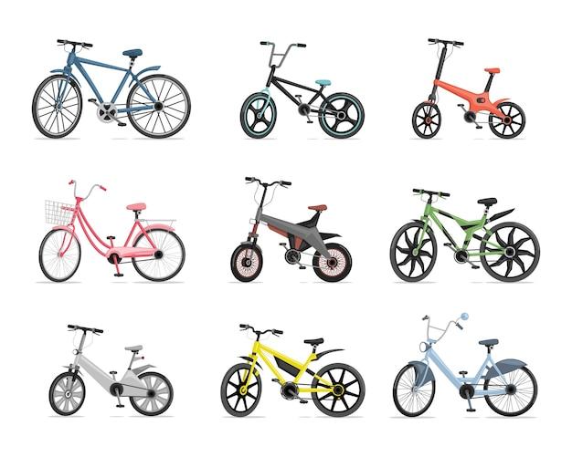 Set van verschillende fietsen. blauwe, rode, roze, groene, grijze en gele fietsen die op witte achtergrond worden geïsoleerd. Premium Vector