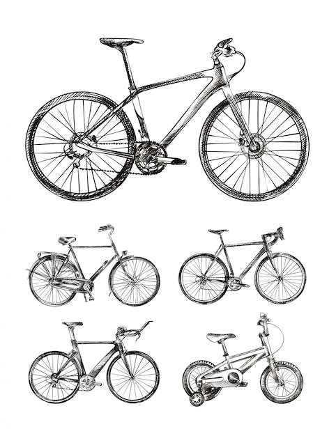 Set van verschillende fietsen, fietsen handgetekende schetsen Premium Vector