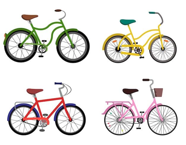 Set van verschillende fietsen. stadsfietsen in vlakke stijl. Premium Vector