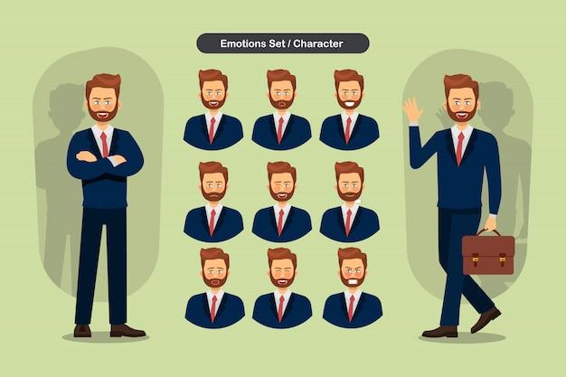 Set van verschillende gezichtsuitdrukkingen zakenman. Premium Vector