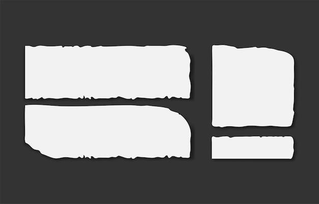 Set van verschillende grijze gescheurde notitieblaadjes met plakband. Premium Vector