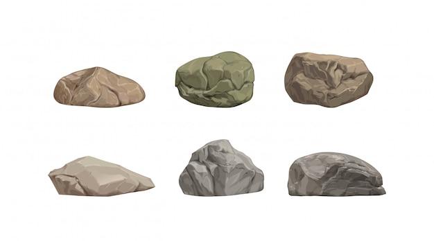 Set van verschillende grote cartoon stenen. Premium Vector