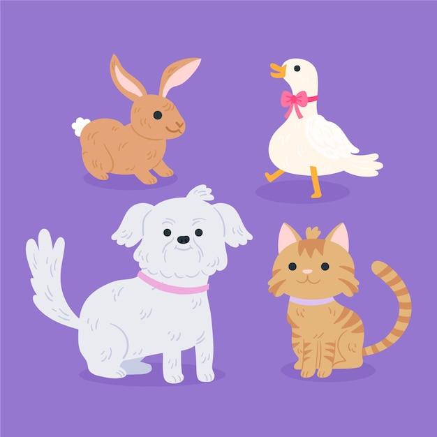 Set van verschillende huisdieren Gratis Vector