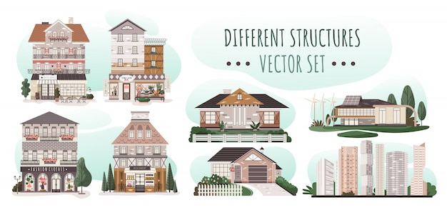 Set van verschillende huizen, moderne woonarchitectuur, illustratie Premium Vector