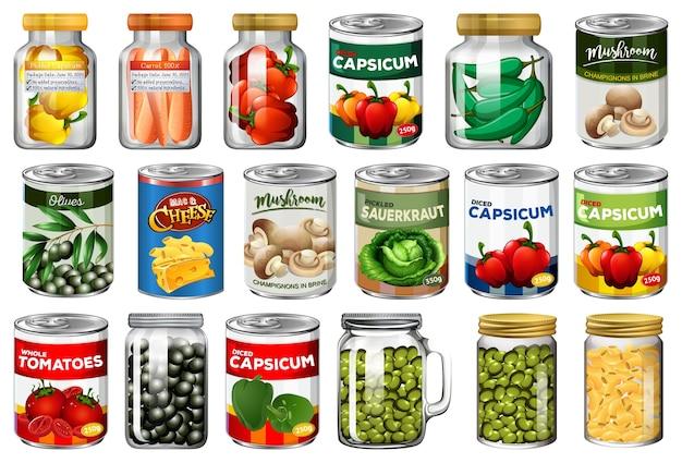 Set van verschillende ingeblikt voedsel en voedsel in geïsoleerde potten Gratis Vector