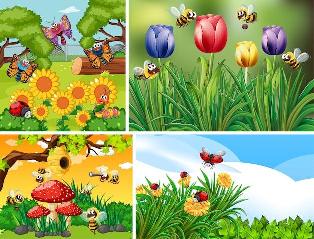 Set van verschillende insecten die op de tuinachtergrond leven Gratis Vector