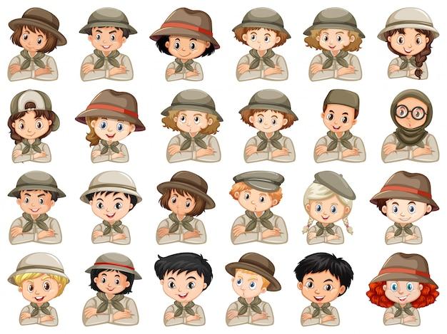 Set van verschillende karakters van scout kostuum voor jongens en meisjes Gratis Vector