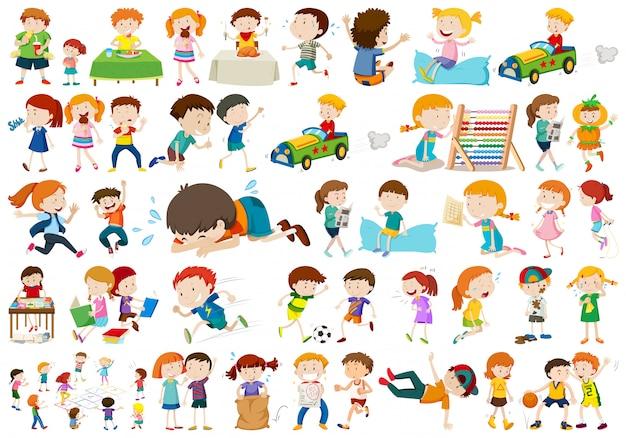 Set van verschillende kinderen Gratis Vector