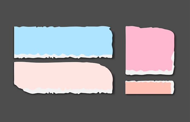 Set van verschillende kleuren gescheurde notitieblaadjes met plakband. Premium Vector