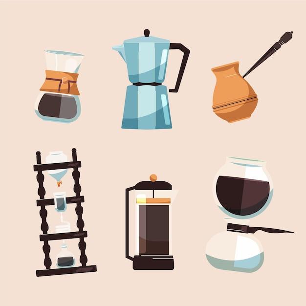Set van verschillende koffiezetmethoden Gratis Vector