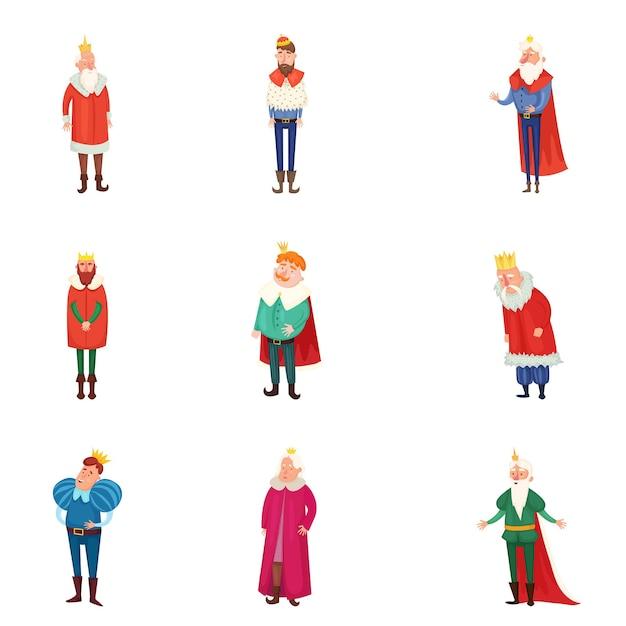 Set van verschillende koninklijke koningen in kleurrijke kleding en gouden kroon Premium Vector