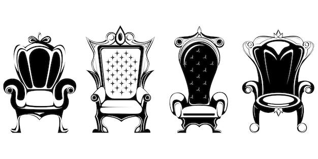 Set van verschillende koninklijke tronen geïsoleerd op wit Premium Vector