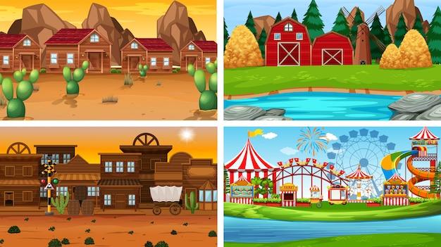 Set van verschillende landschap-achtergrond Gratis Vector