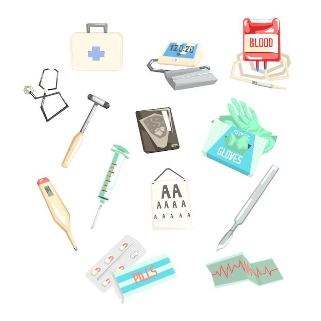 Set van verschillende medisch onderzoek en behandeling items Premium Vector