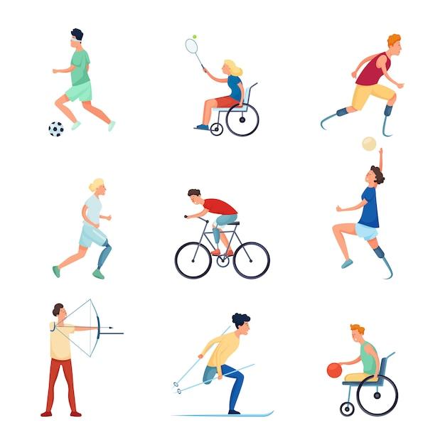 Set van verschillende mensen karakter bij paralympische sportspellen Premium Vector
