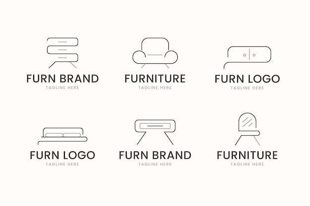 Set van verschillende meubels logo's Gratis Vector