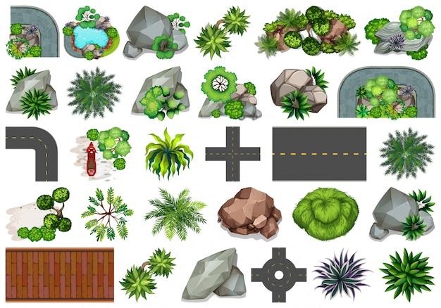 Set van verschillende natuurobjecten Gratis Vector