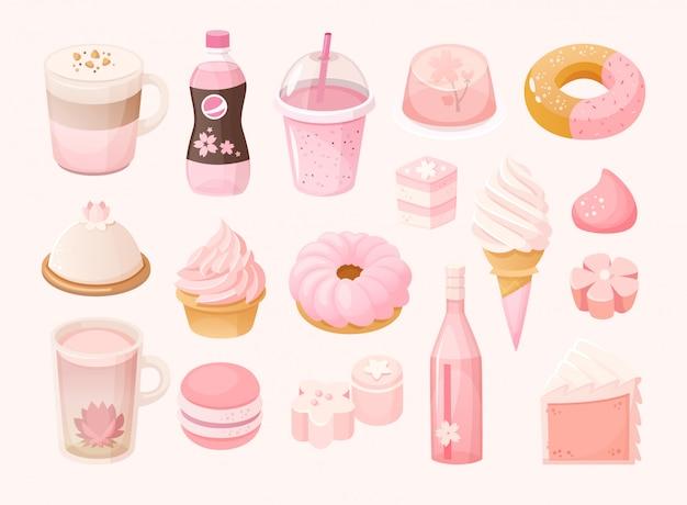 Set van verschillende pastel roze snoepjes en desserts. sakura seizoensgebonden voedsel. geïsoleerde illustraties Premium Vector