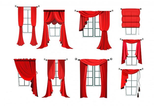 Set van verschillende rode gordijnen Gratis Vector