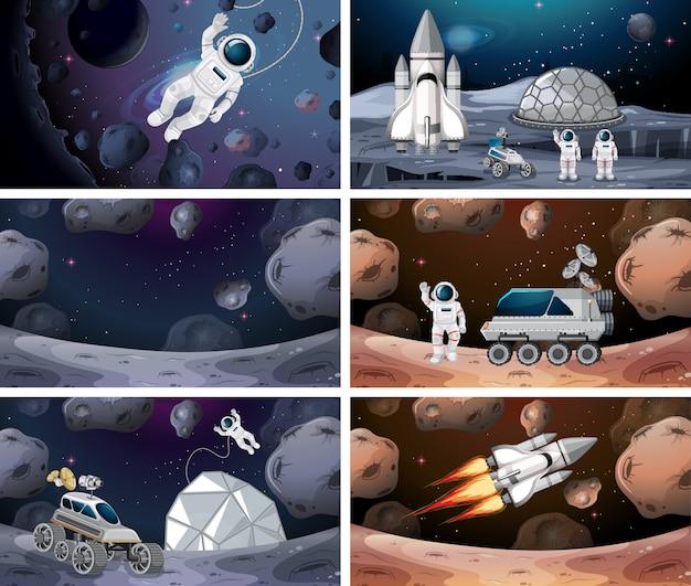 Set van verschillende ruimtescènes achtergrond Gratis Vector
