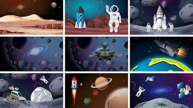 Set van verschillende ruimtescènes Premium Vector