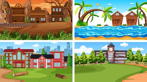 Set van verschillende scènes of achtergrond Gratis Vector