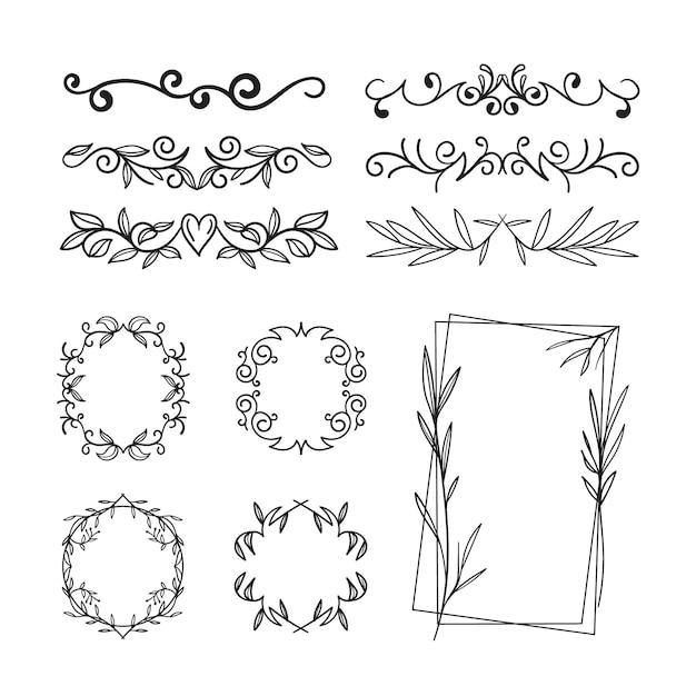 Set van verschillende soorten frame en verdelers Gratis Vector