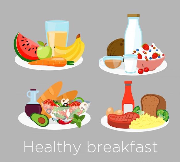 Set van verschillende soorten gezond ontbijt eten in cartoon-stijl. lunchkoffie, pap, sinaasappel en ochtendvoeding, heerlijk fruit, brood. Premium Vector