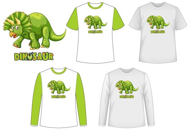 Set van verschillende soorten shirt in dinosaurusthema met dinosaurusbeeldverhaal Gratis Vector