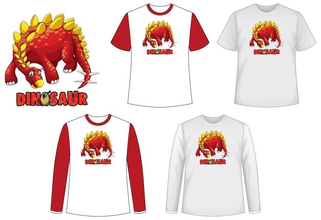Set van verschillende soorten shirt in dinosaurusthema met dinosauruslogo Gratis Vector