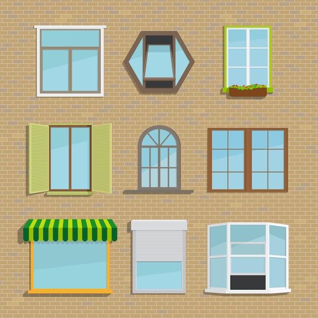 Set van verschillende soorten vensters. huis en architectuur, jaloezieën en luiken, luifel en tij Gratis Vector