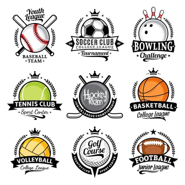 Set van verschillende sportemblemen met sportballen Premium Vector