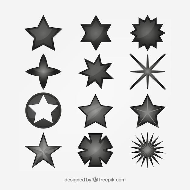 Set van verschillende sterren Gratis Vector