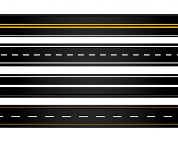 Set van verschillende stijl wegen Gratis Vector