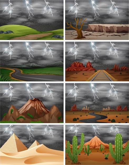 Set van verschillende storm scènes Premium Vector