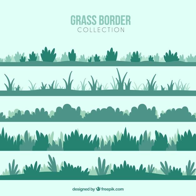 Set van verschillende struiken en gras Premium Vector