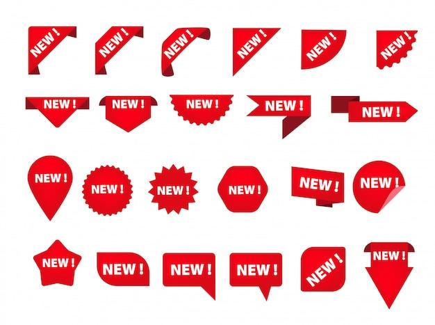 Set van verschillende tags met nieuwe inscriptie Gratis Vector