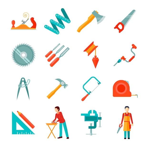 Set van verschillende timmerman tools geïsoleerd plat pictogrammen Gratis Vector